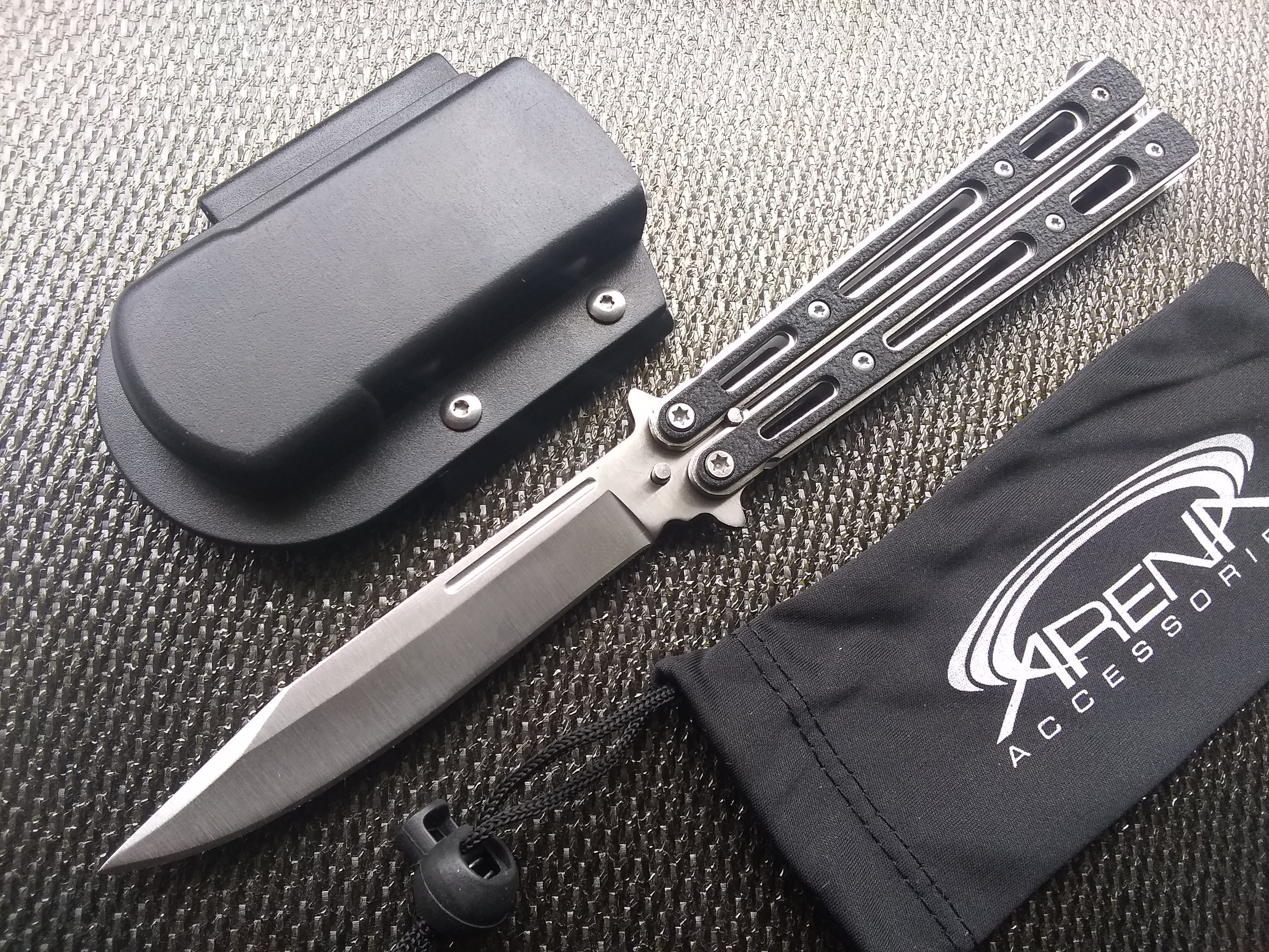 Concealed Carry Balisong Horizontal Belt Mount Butterfly Knife with Grippy G10 Handle Scales High Quality & Heavy Duty