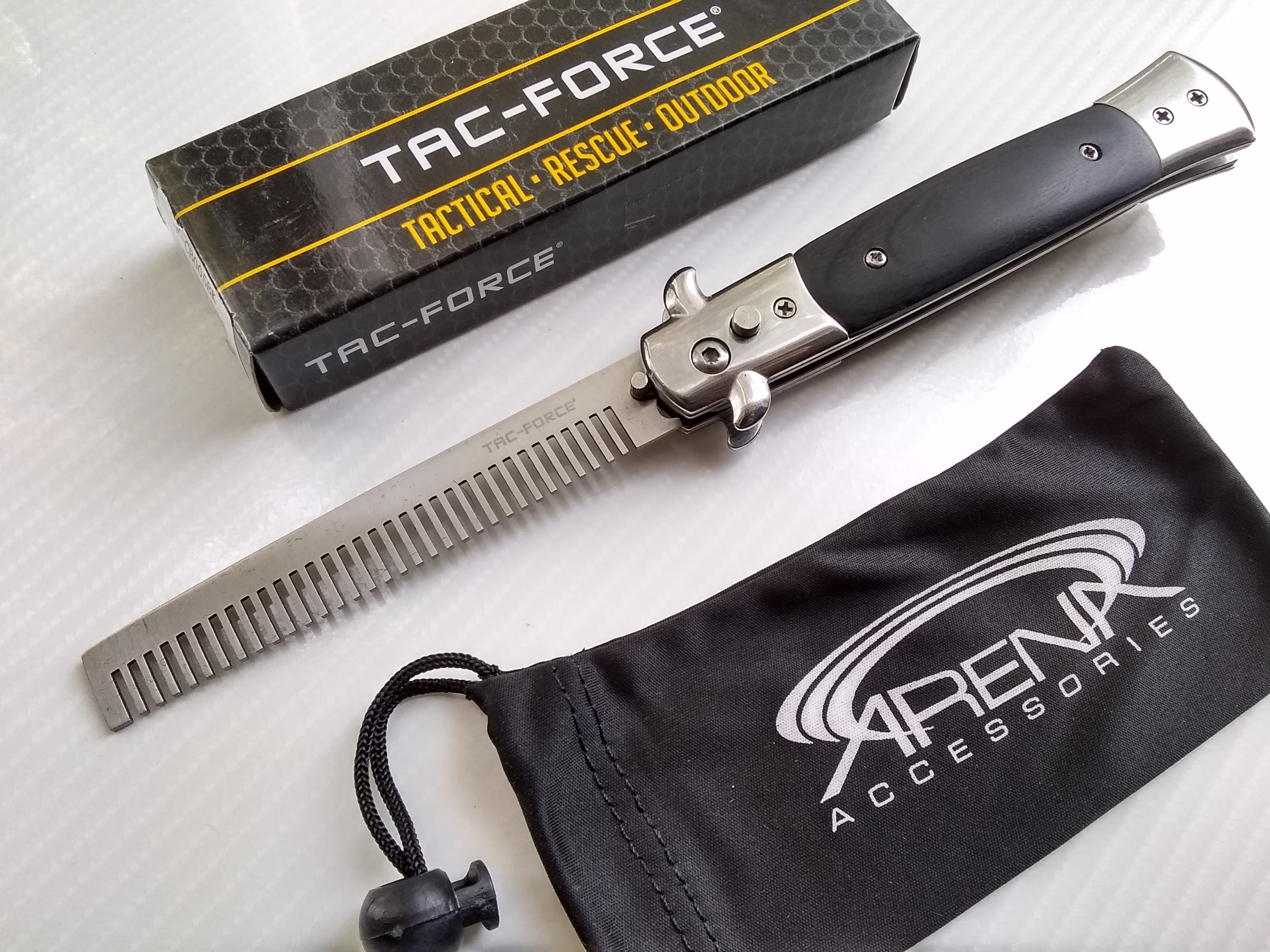 Switchblade Comb Automatic Barber Beard Tool with Black Wood Handle Godfather Stiletto Style Tac-Force Spring Assisted