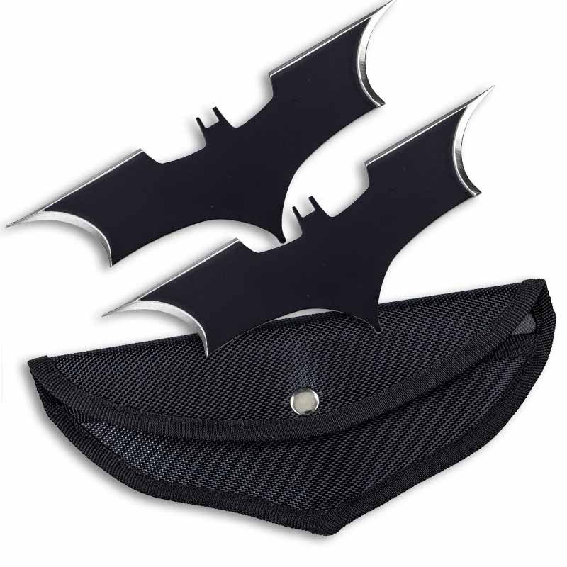 2 Batarang Bat Wing Blades Throwing Knives Shuriken Metal Stainless Steel Batman Begins Replica Prop Collectible with Horizontal Concealed Carry Belt Pouch