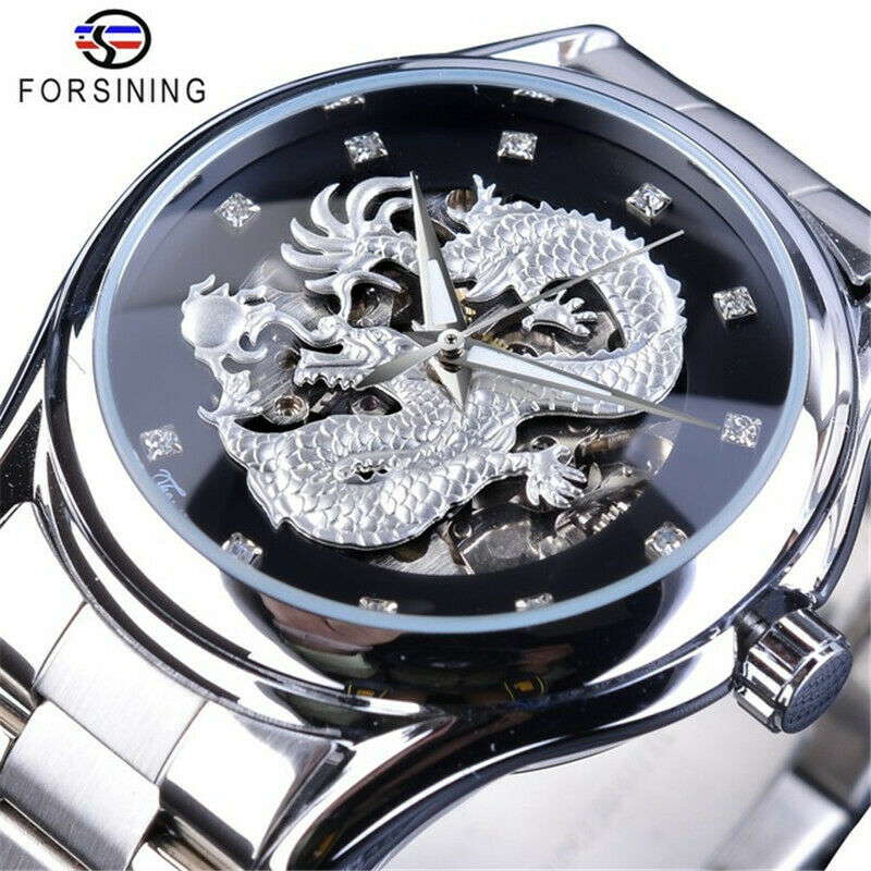 Skeleton 3D Dragon Automatic Mechanical Wrist Watch Mens Luxury Luminous Hands