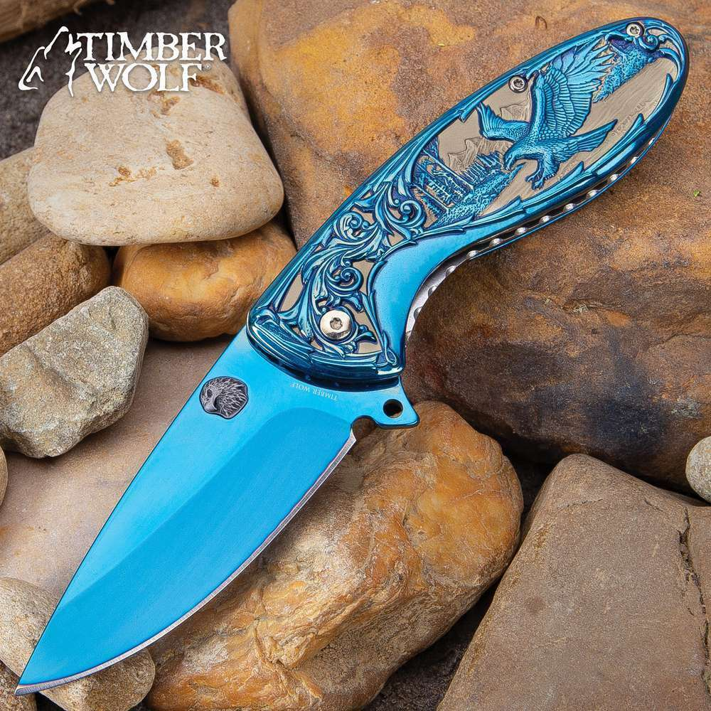 Ornate Scrollwork Blue Titanium Eagle Pocket Knife Spring Assist Flipper EDC