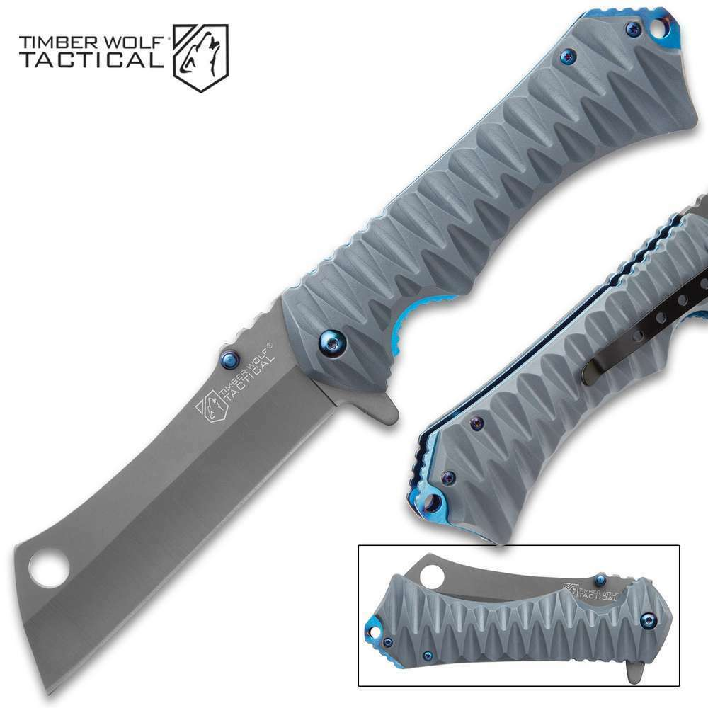 BIG Gray Titanium Coated Spring Assist Cleaver Blade EDC Pocket Knife Blue Liner