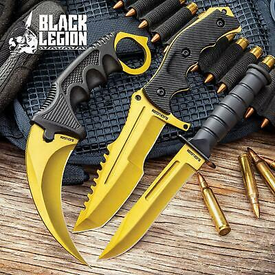 3 Knife Lot Counter Strike CS:GO Huntsman Bowie Karmabit Blade Call of Duty GOLD