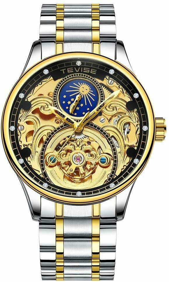 TEVISE 820 Ornate Engraved Scrollwork Automatic Mechanical Watch Moon Phase Watch Gold & Black