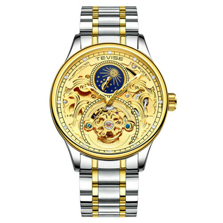 TEVISE 820 Ornate Moon Phase Engraved Scrollwork Automatic Mechanical Luxury Watch Gold