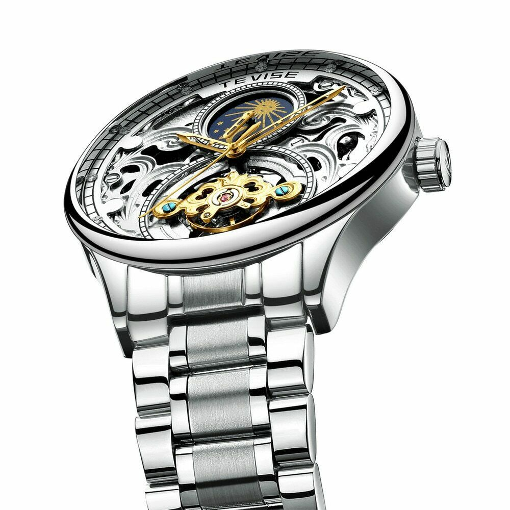 TEVISE T820A Ornate Scrollwork Engraved Automatic Mechanical Luxury Moon Phase Watch