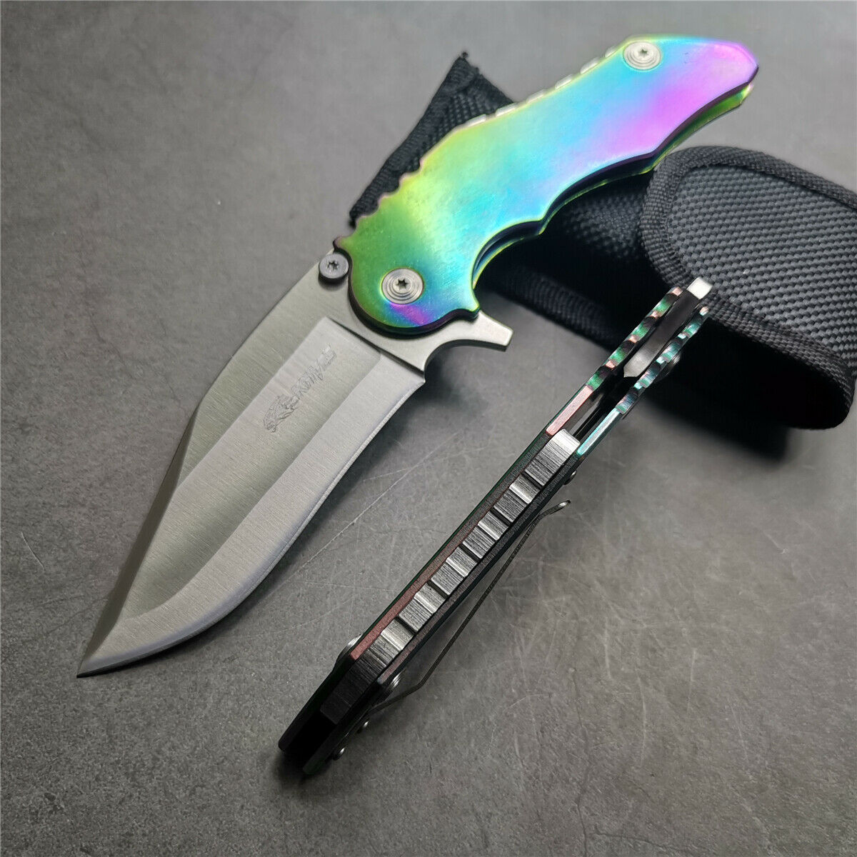 SR Knives 595A Big Rainbow Titanium Handle Beast Pocket Knife Manual FrameLock Flipper