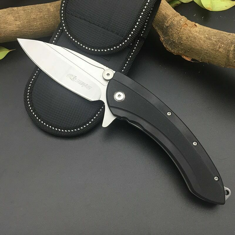 SR Knives 632A Killer Whale Beast Pocket Knife Manual Flipper Black G10 Handle