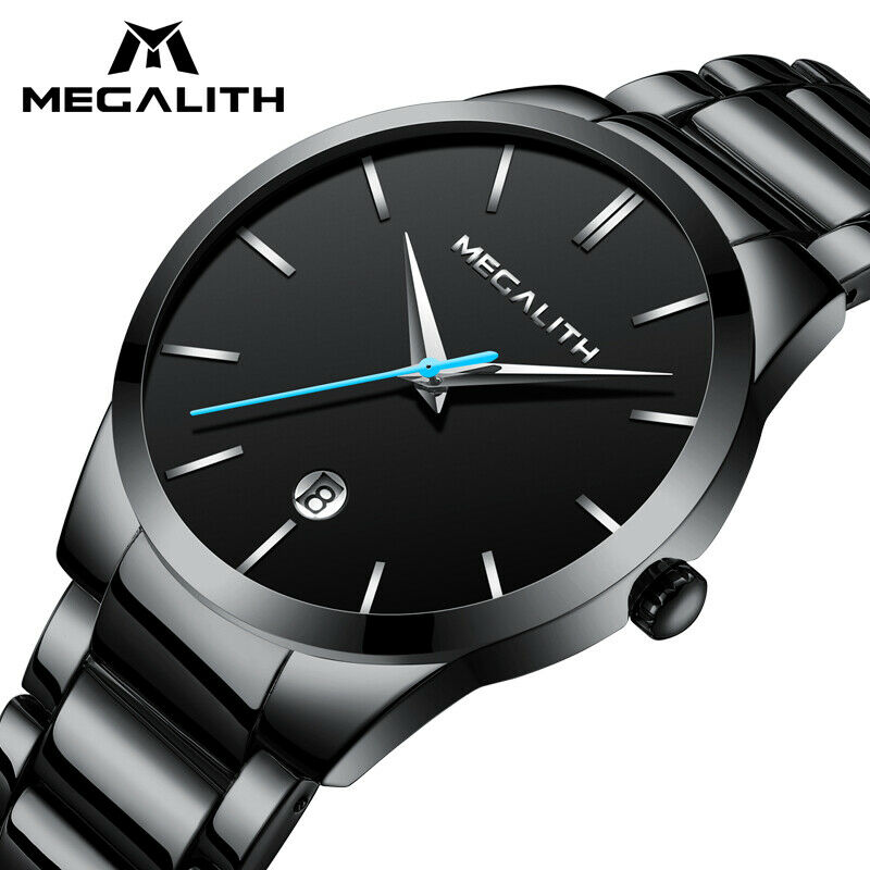 Megalith Minimalist Mens Wrist Watch Black Stainless Band Japan VJ32 Seiko Mvmt