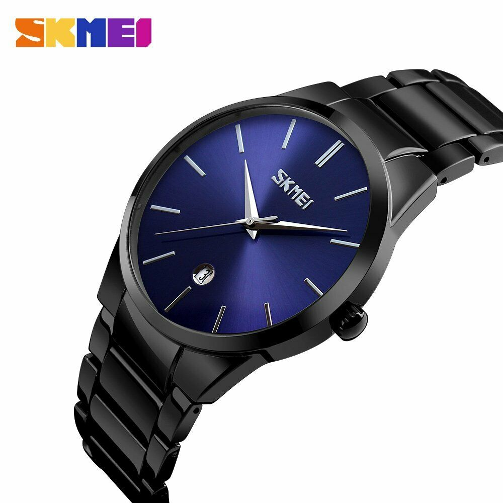 Slim Minimalist SKMEI Mens Wrist Watch Link Band Japanese Seiko Movement EDC Black & Blue