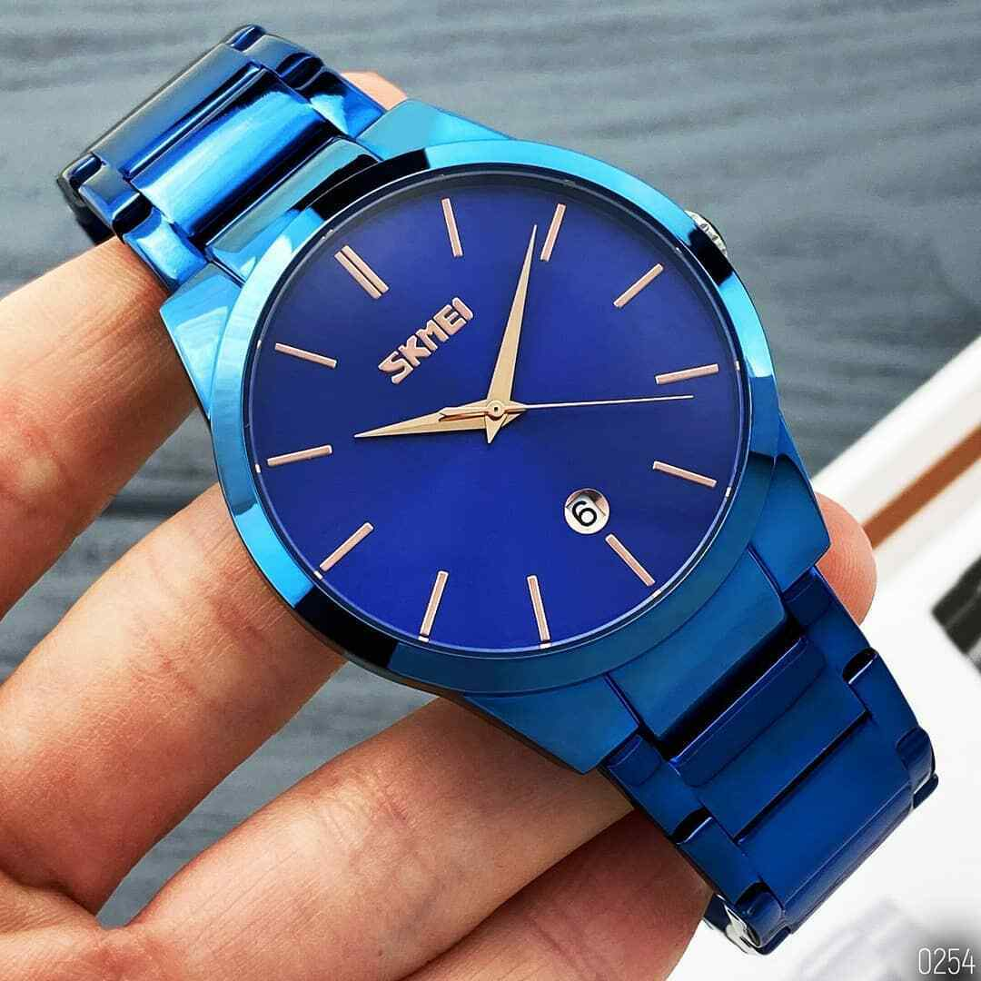 Slim Minimalist Mens SKMEI Wrist Watch Link Band Japan Seiko Movement with Calendar Date EDC Blue