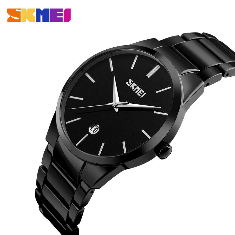 Slim Minimalist SKMEI Men's Wrist Watch Link Band Genuine Japan Seiko Movement Date EDC Black with Black 40 mm Face
