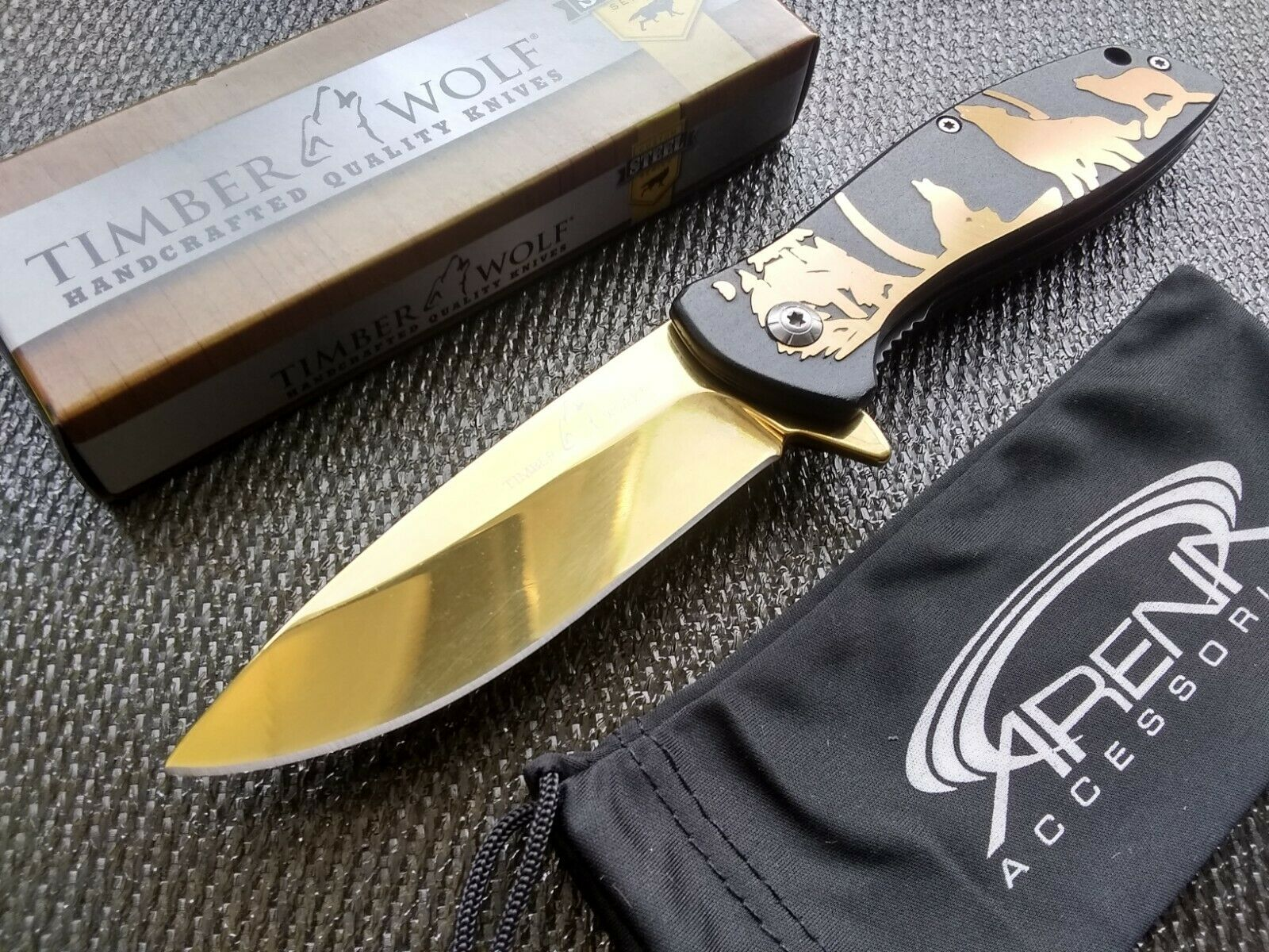 Howling Wolf Spring Assist Open Black & Gold Chrome Full Moon EDC Pocket Knife