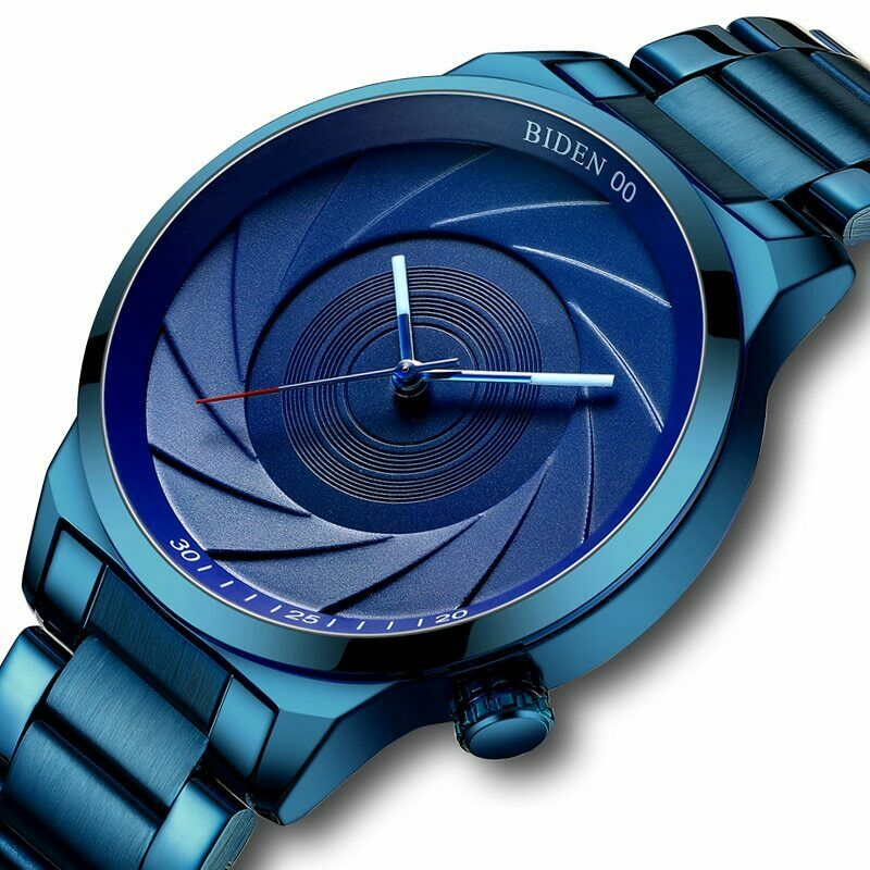 Biden Blue Photographer's Wrist Watch Camera Lens Shutter Photography Enthusiast Gift with Japan Quartz Movement