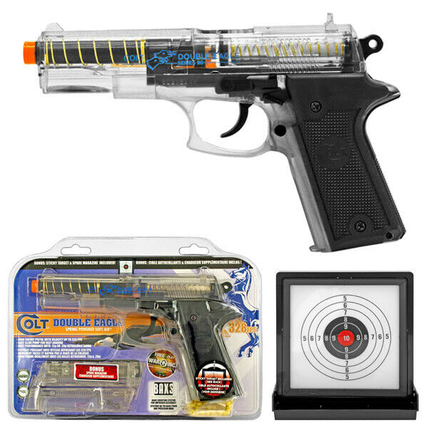 Colt Double Eagle Spring Airsoft Starter Kit Handgun 2 Magazines & Sticky Target