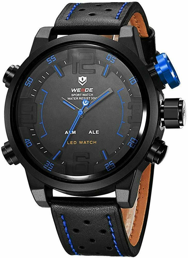 Weide WH5210 Big Face Mens Leather Strap Japan Miyota Quartz Movement LED Digital Display Sports EDC Wrist Watch Blue