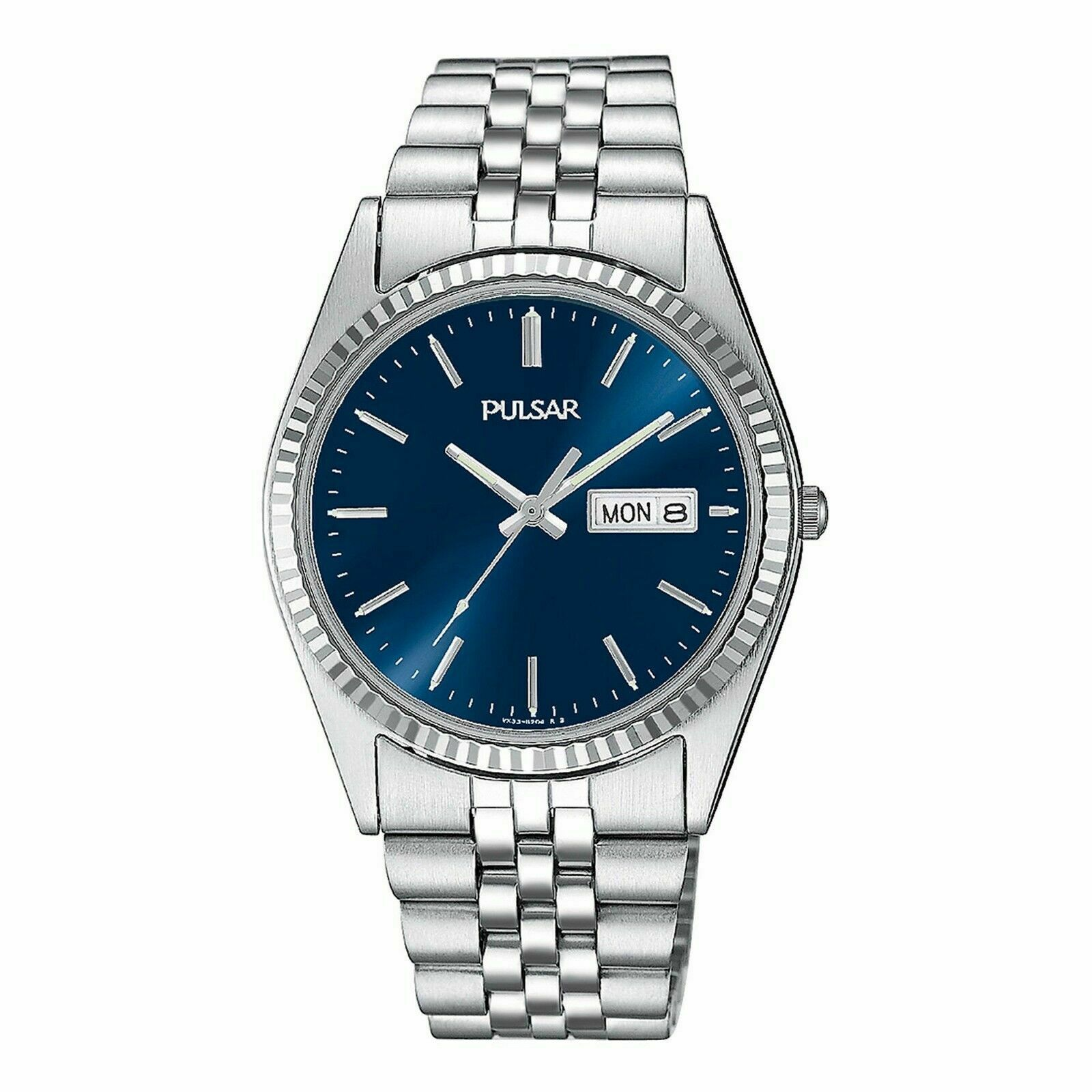Pulsar by Seiko PXF277 Genuine Japan Seiko Movement Blue Face Coin Bezel Rolex Datejust Style Homage Wrist Watch