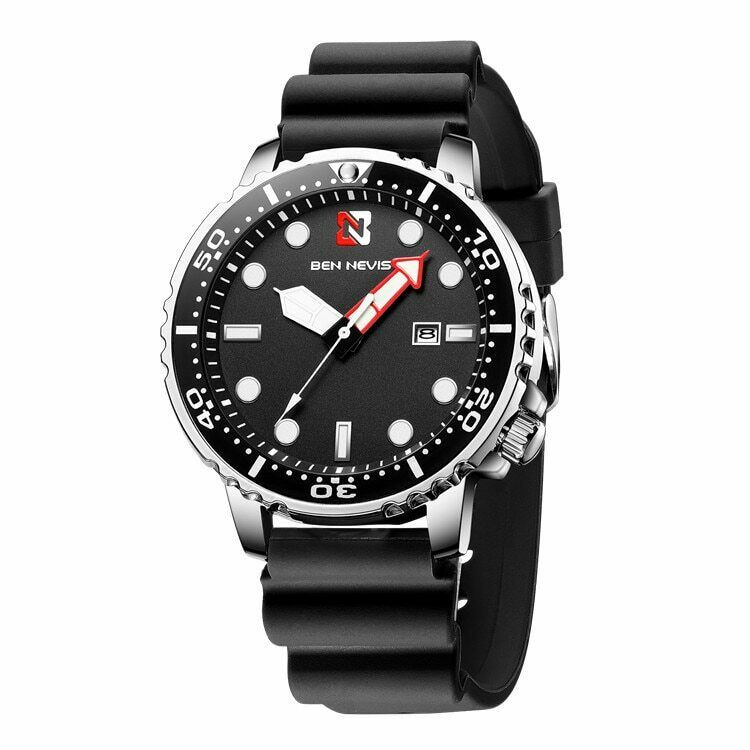 BEN NEVIS Citizen Promaster Diver Style Homage EDC Watch 4 oclock Crown Quartz 30M BLACK Silicone Band