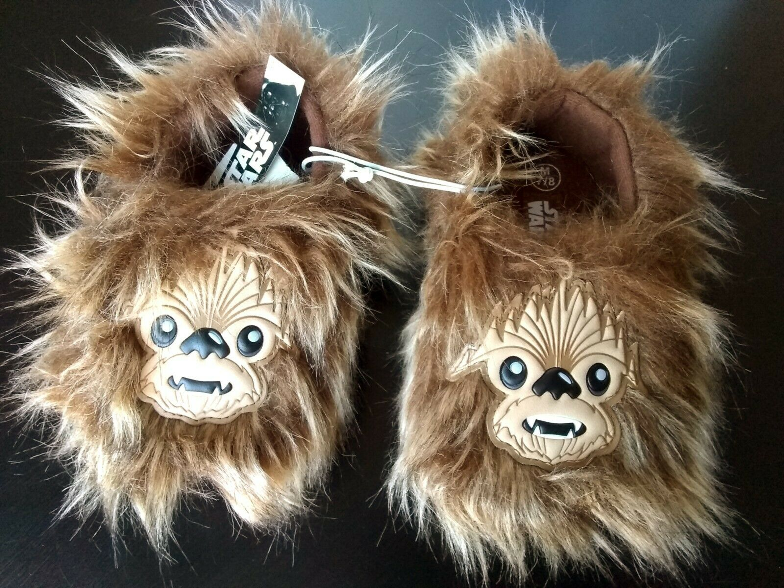Chewbacca Wookie Slippers Fuzzy Furry Star Wars Kids Medium Size 7/8 Brown No Slip Bottom