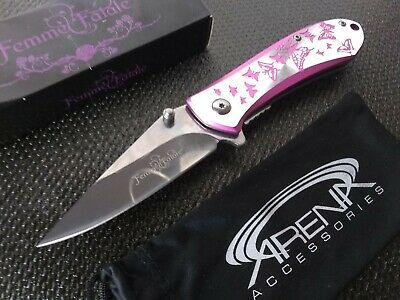 Girls Pink Butterflies Pocket Knife with Mirror Finish Blade Metal Spring Assisted Open Ladies Womens EDC Flipper