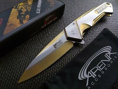 Gold Titanium Spring Assisted EDC Pocket Knife Ballistic Bullet Shell Pocket Clip Design