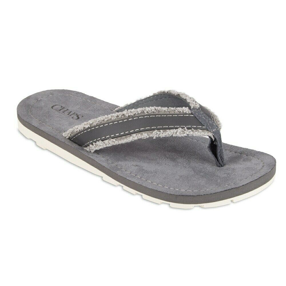 Chaps Performance Mens Thong Flip-Flop Casual Beach Sandal Size XL 12-13 Canvas Frayed Grey & White