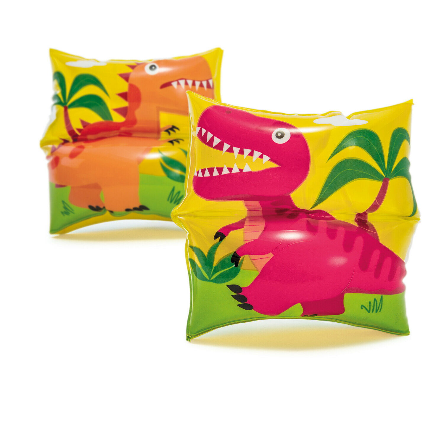1 Pair Dinosaur Swimmie Arm Bands Dual Chambers 3-6 Years Old Youth Floaties
