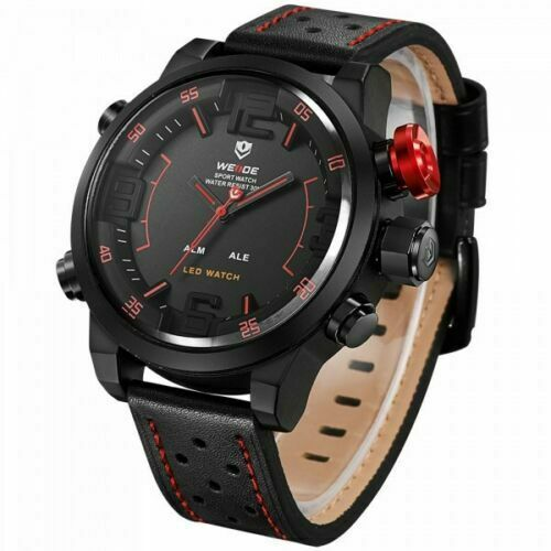 Big Face Weide 5210 Mens Leather Japan Miyota Quartz Mvmt LED Sports Red Wrist Watch