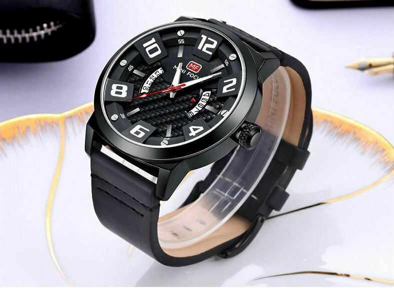 Minimalist MINI FOCUS 0149G Leather Wrist Watch Carbon Fiber Texture Quartz Movement