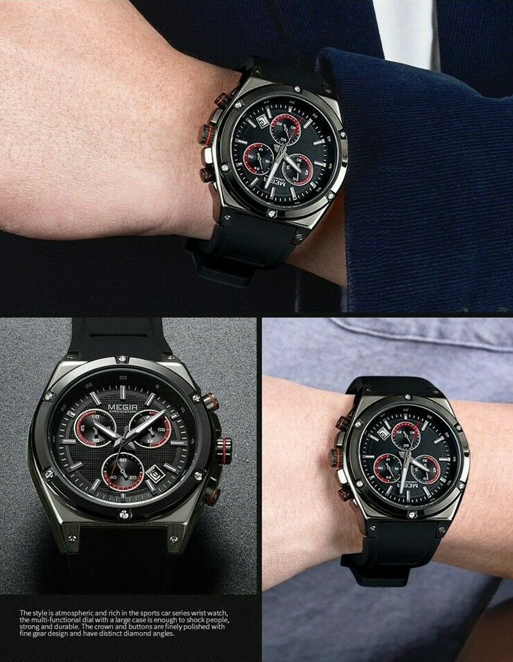 MEGIR Sport 2073G BIG FACE Wrist Watch Men Quartz Chronograph Black Silicone Band 2073