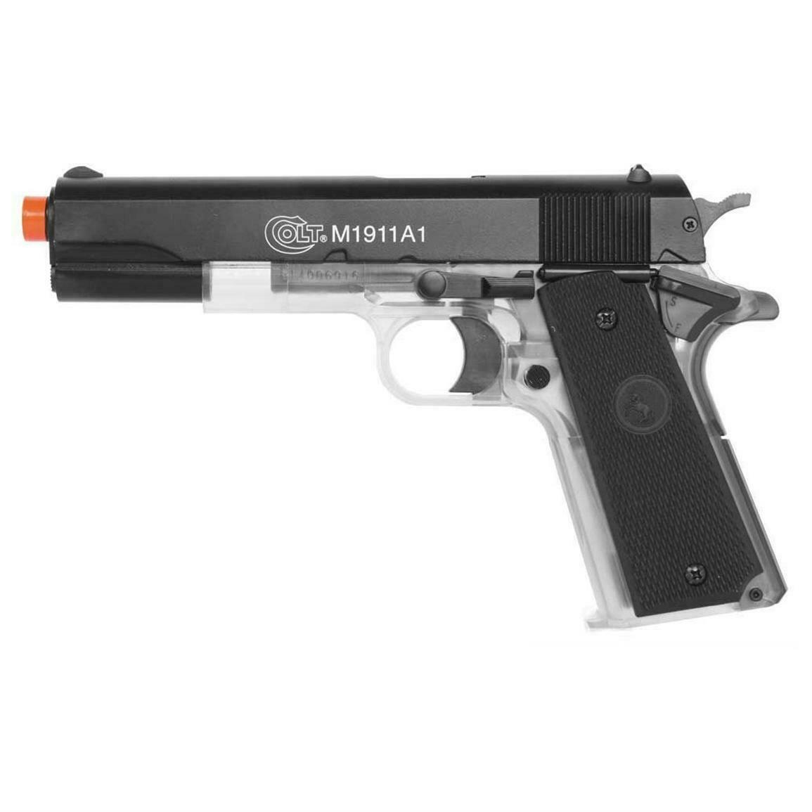 Cybergun Colt M1911-A1 Half Clear Best All Metal Slide Airsoft Spring Pistol Gun 328 FPS BAX 1911