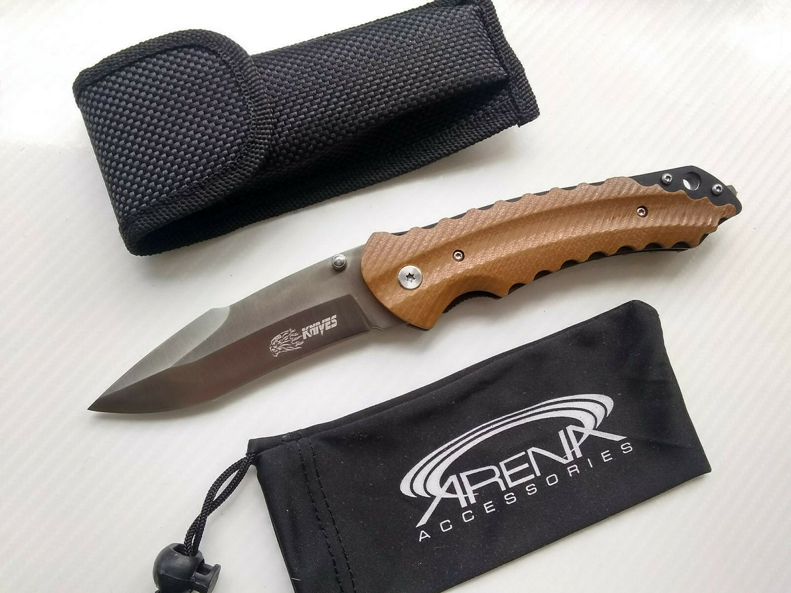 SR Knives 617A Knives Pocket Knife Deep Tip Up Carry Clip G10 Brown Harpoon Blade