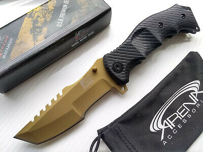 CSGO Huntsman Tracker Matte Gold Tactical G10 Spring Assisted Flipper Pocket Knife