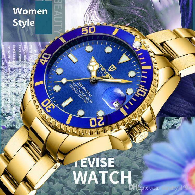 Tevise Womens Small Face Submariner Homage Quartz Blue & Gold Wrist Watch 34 mm Ladies Stainless Band