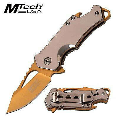 Gold Blade Spring Assist Pocket Knife EDC Beer Bottle Opener Mirror Handle