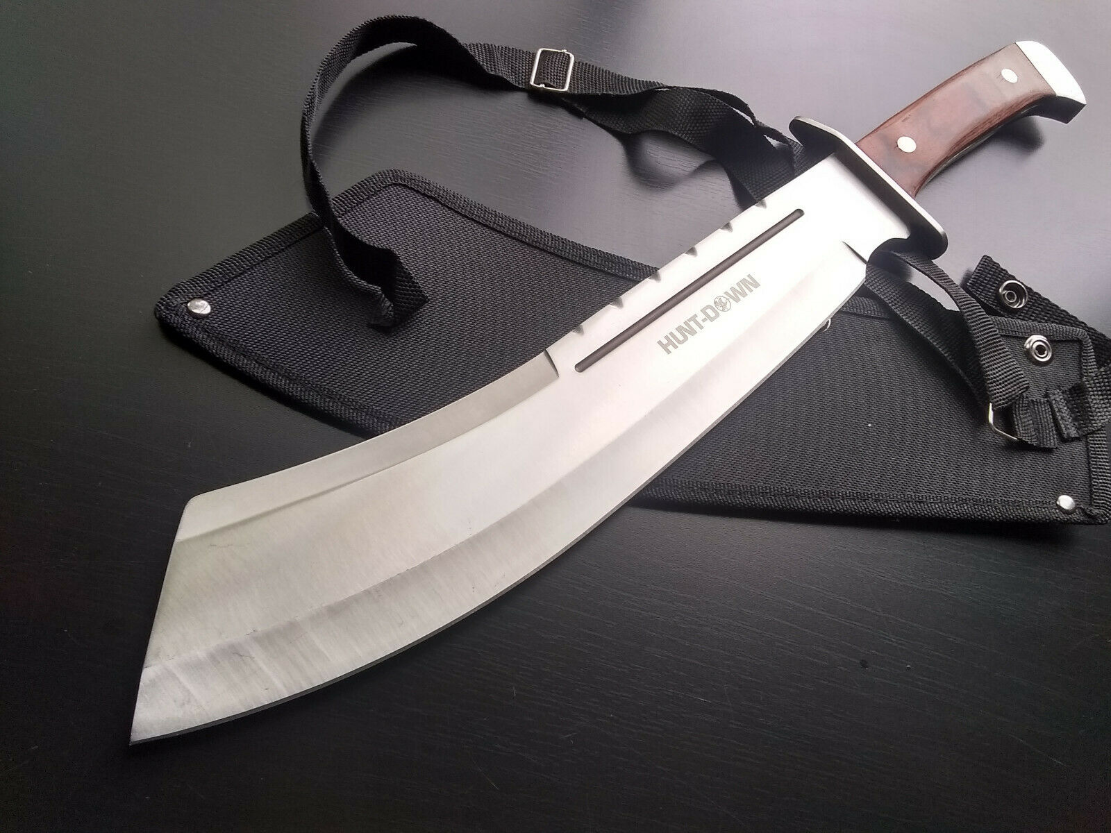 Full-Tang Machete Chopper Knife & Sheath Fixed Blade Brown Wood 4 mm Thick 18.5