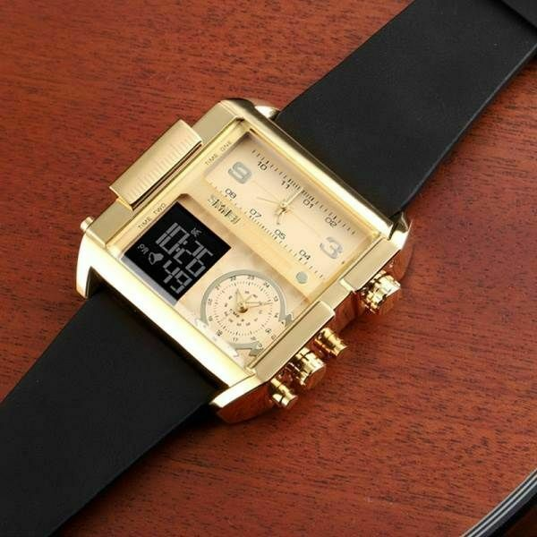 SKMEI 1391 Big Face Square Wrist Watch Japan Seiko Mvmt Dual LCD Digital 3 Zone Men Gold & Black Leather Band