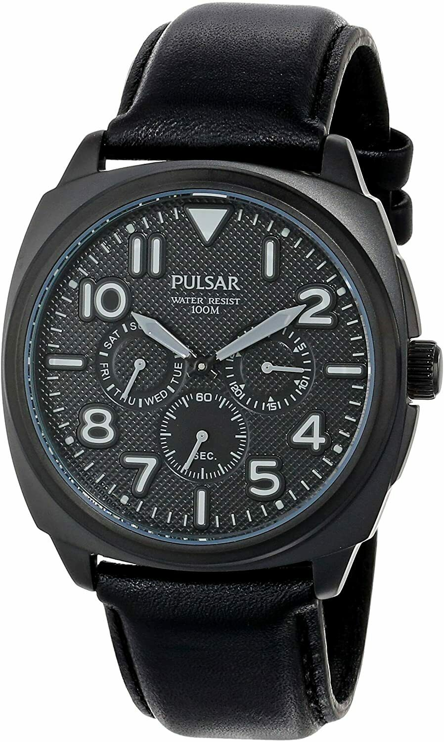 Pulsar by Seiko PP6085 Japan Quartz Movement Mens Watch Calendar Date Black Leather Band