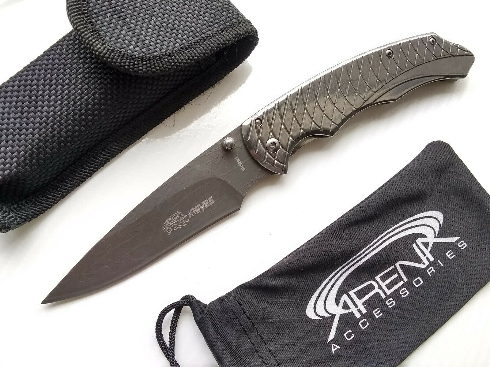 SR Knives 529D Framelock Pocket Knife with Textured Blade Grooved Handle & Slim Construction