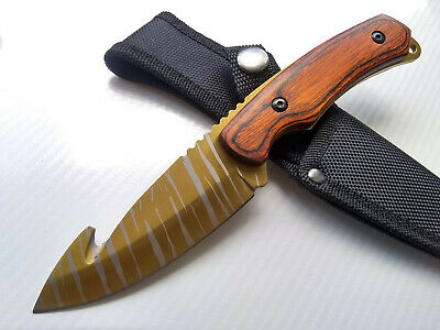 Gold Tiger Stripe Gut Hook Fixed Blade Knife Brown Wood Handle CSGO 3.75