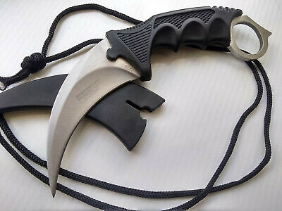 CSGO Karambit Hawkbill Fixed Blade Black & Silver Doppler Concealed Carry Full Tang Neck Knife