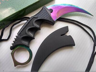 Rainbow Fade CSGO Doppler Karambit Hawkbill Fixed Blade Full Tang Neck Knife Concealed Carry