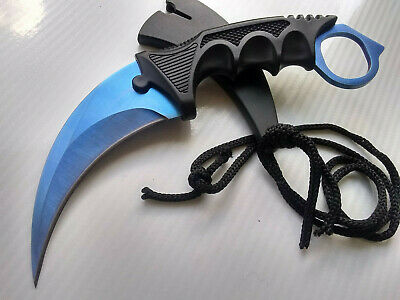 Blue Titanium Hawkbill Karambit Fixed Blade CSGO Doppler Concealed Carry Neck Knife