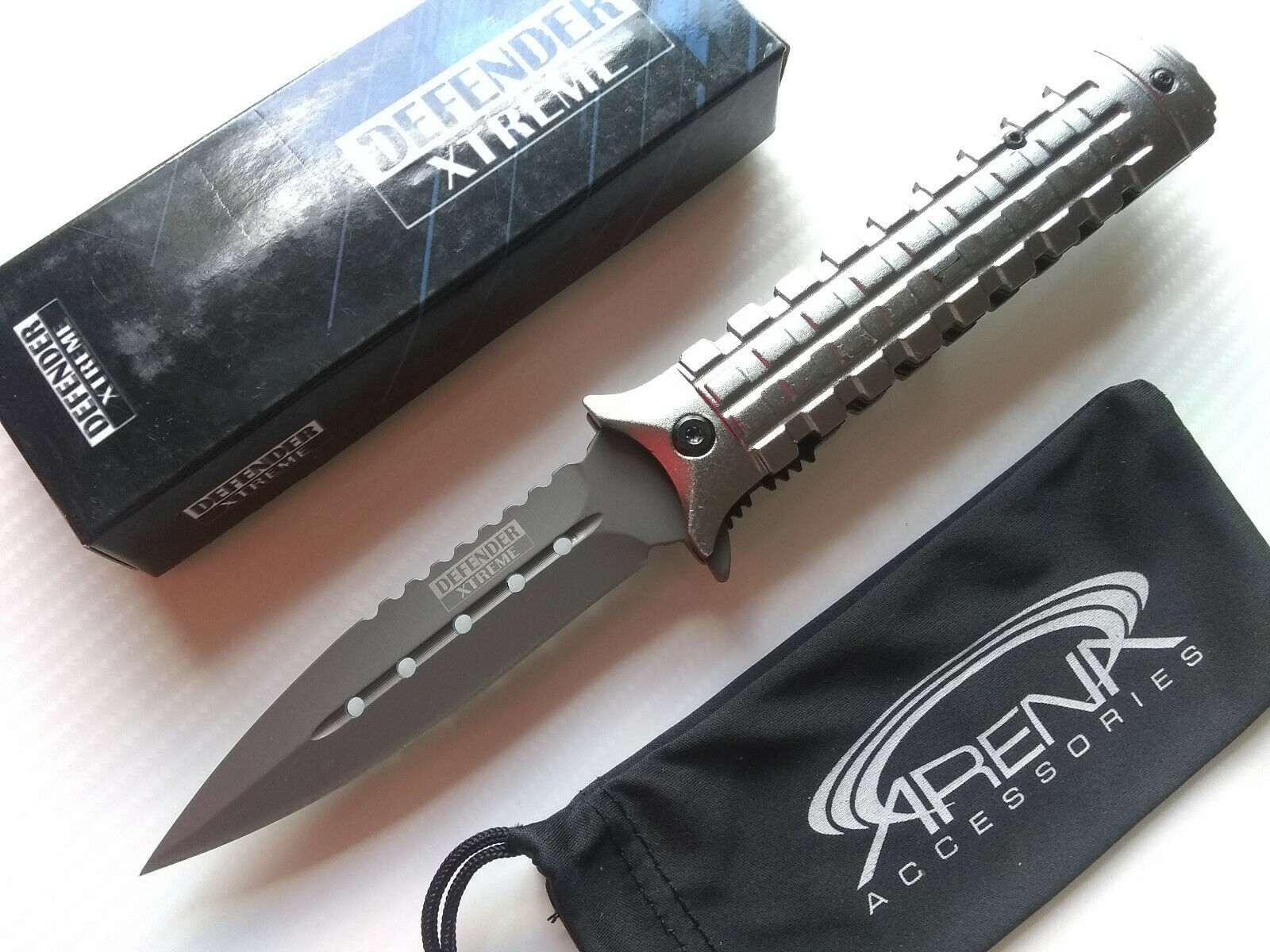 Pineapple Grenade Textured Handle Defender Xtreme Gray Spring Assisted Folding Pocket Knife 9