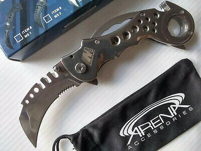 Heavy Duty Karambit Pocket Knife Legal Carry Hawk Blade Flipper Silver Spring Assisted EDC
