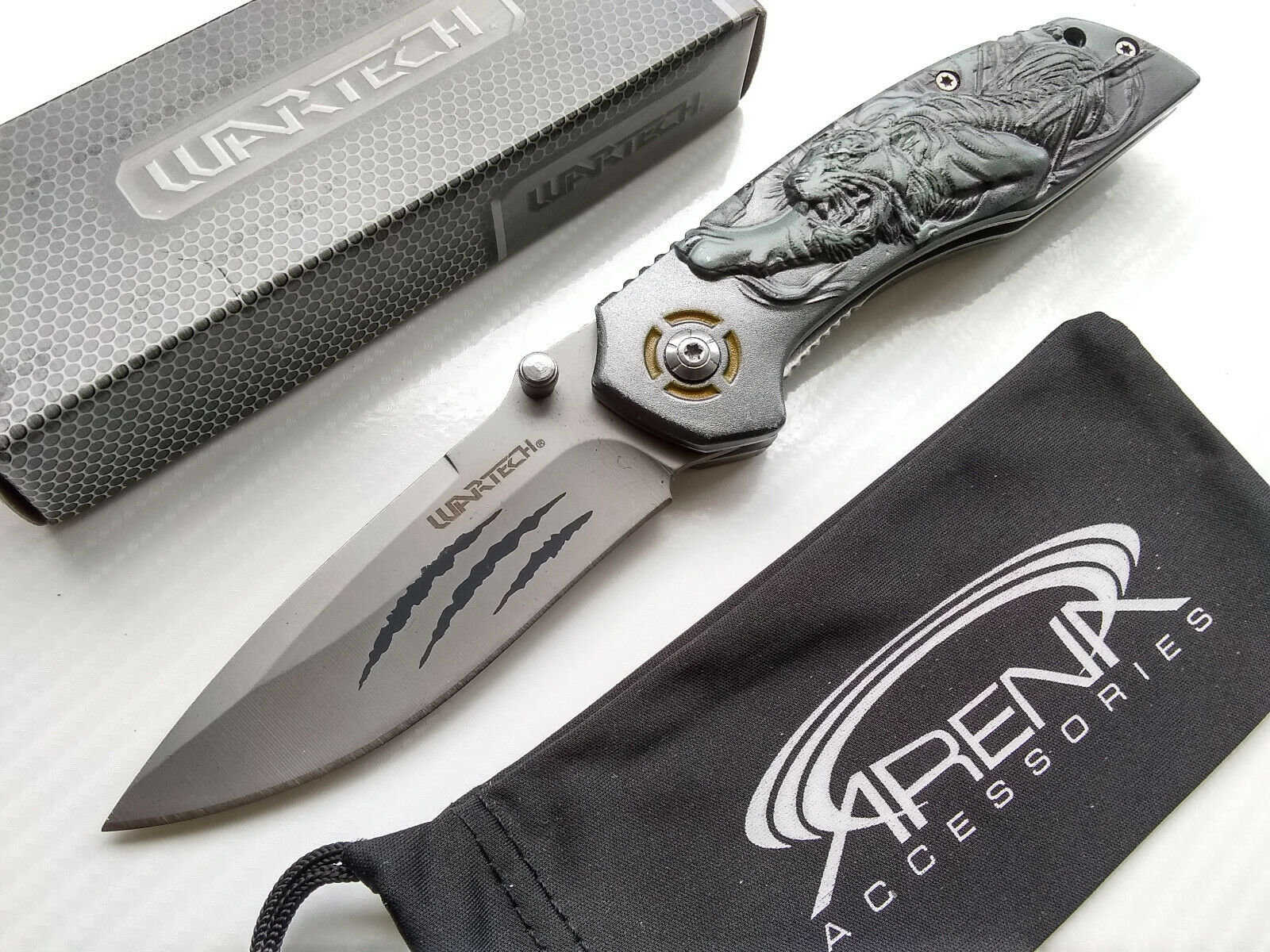 Wartech Feline Bengal Tiger Spring Assisted EDC Pocket Knife Flipper 3D Cat Handle