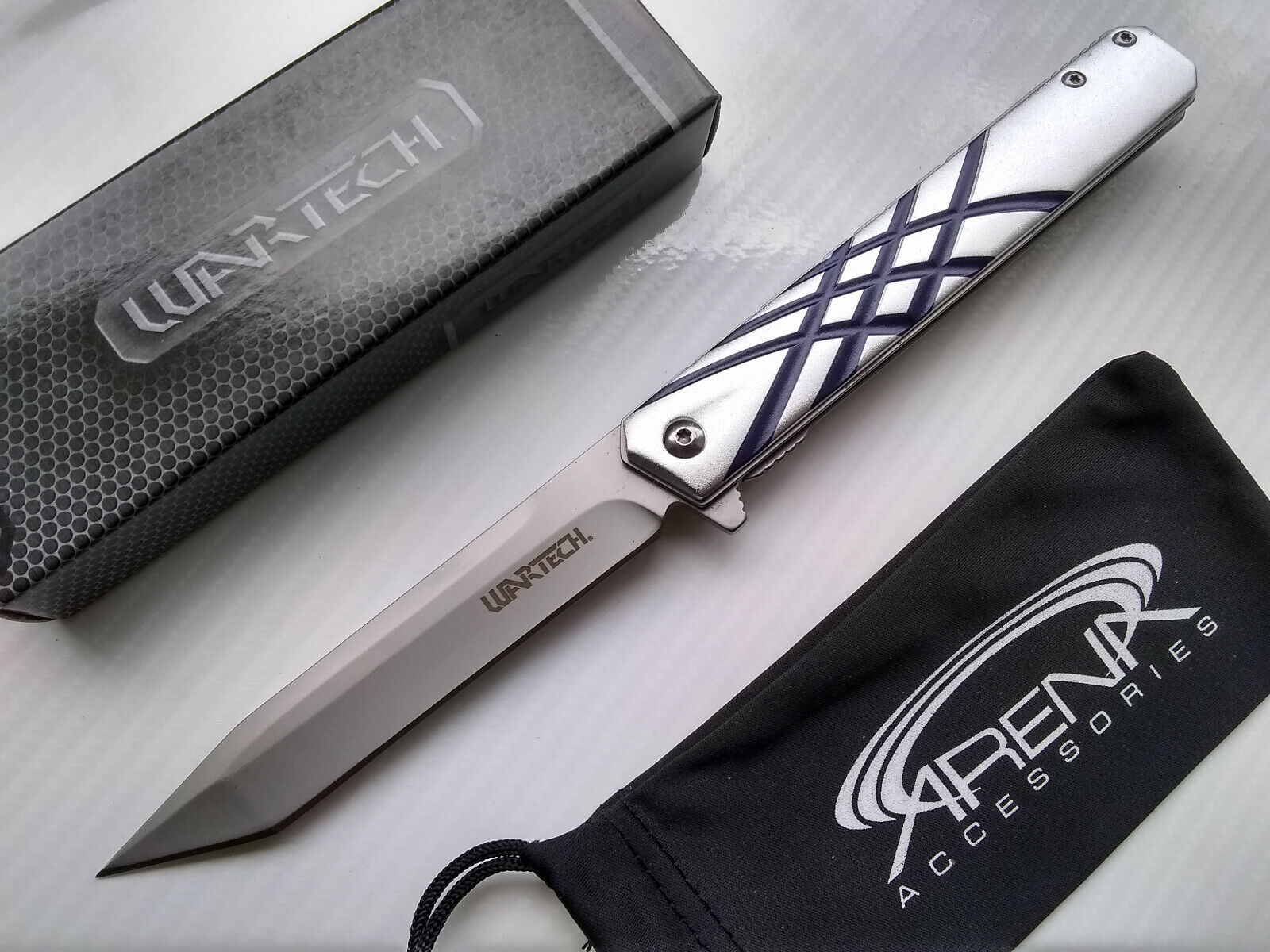 Wartech Gentlemans Slim Design Silver Tanto Pocket Knife Spring Assist EDC FrameLock Flipper