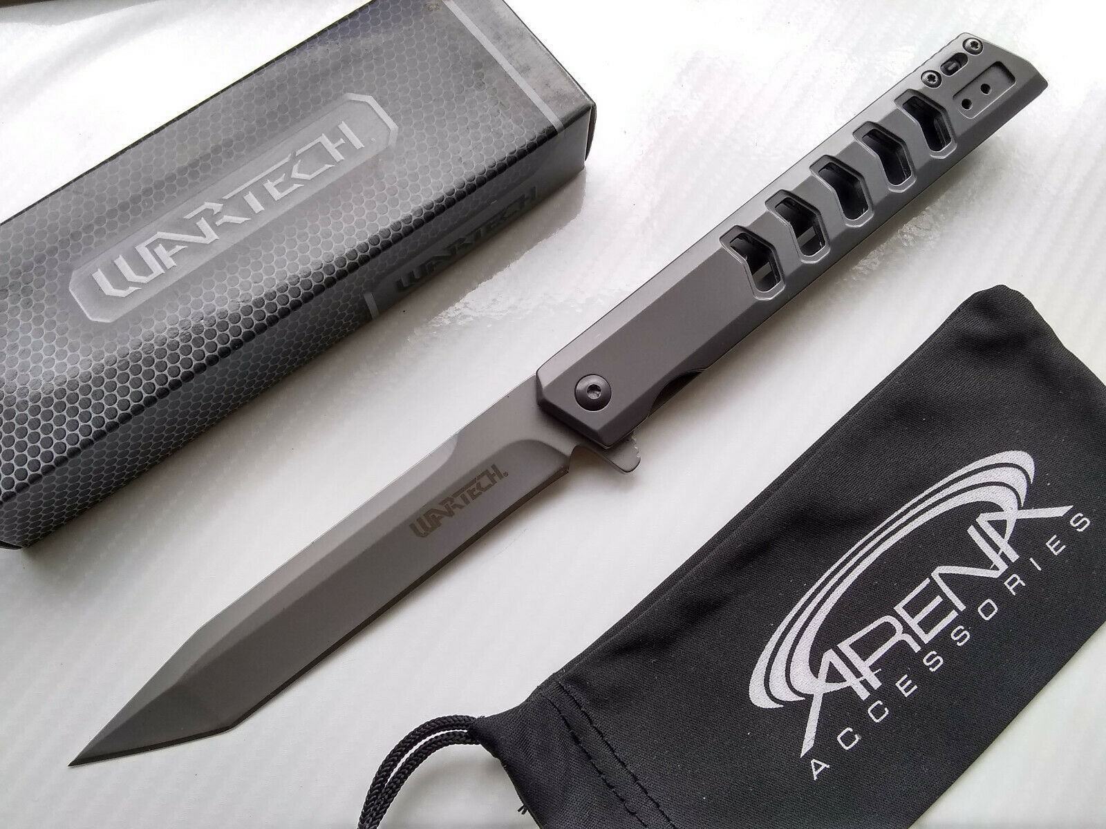 Wartech Slim Design Gentleman's Pocket Knife Spring Assisted FrameLock Flipper Gunmetal Gray Ti Coated Tanto