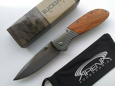 Gentlemans EDC Buckshot Brown Wood Spring Assisted Pocket Knife Deep Carry Clip Hiking