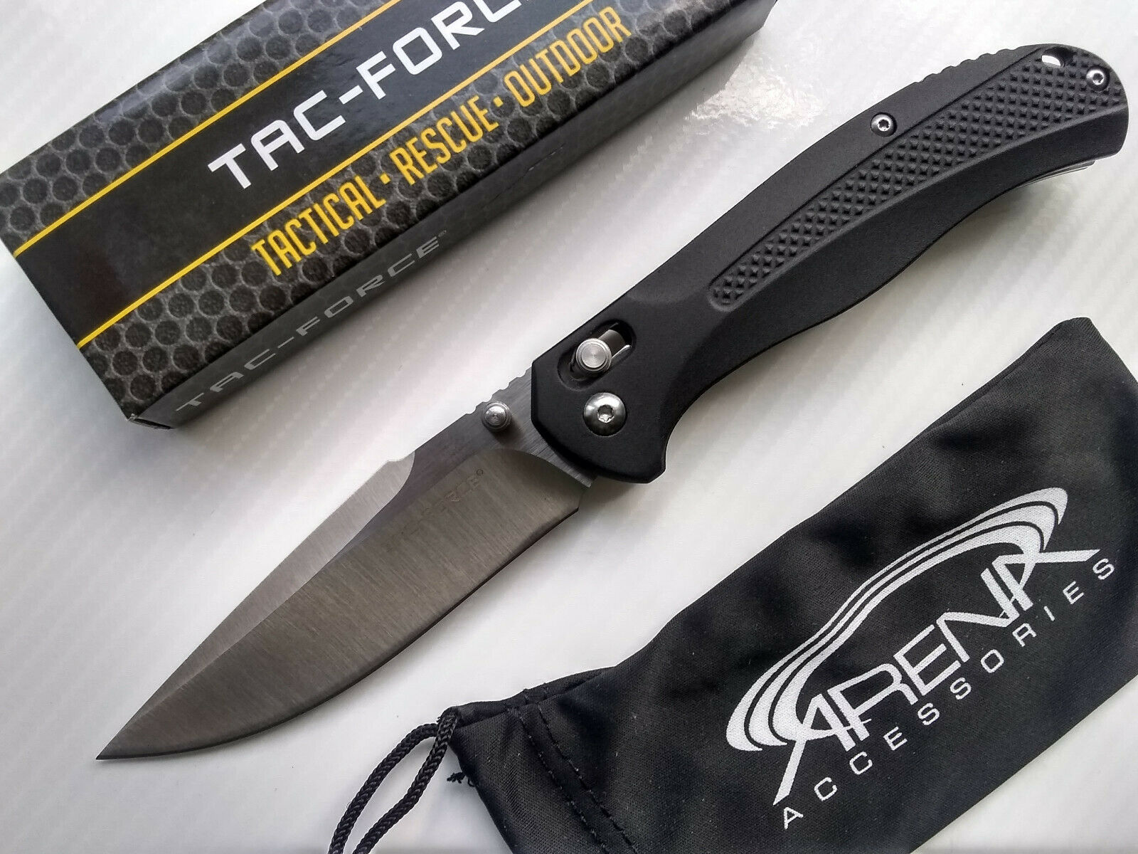 Black Manual Axis Lock Pocket Knife Tip Up Carry Dual Thumb Studs
